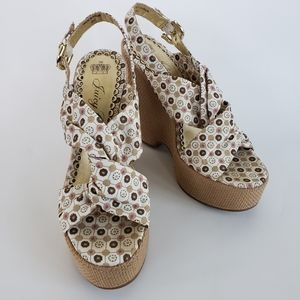 JUICY COUTURE Twisted Canvas Sling Back Wedge